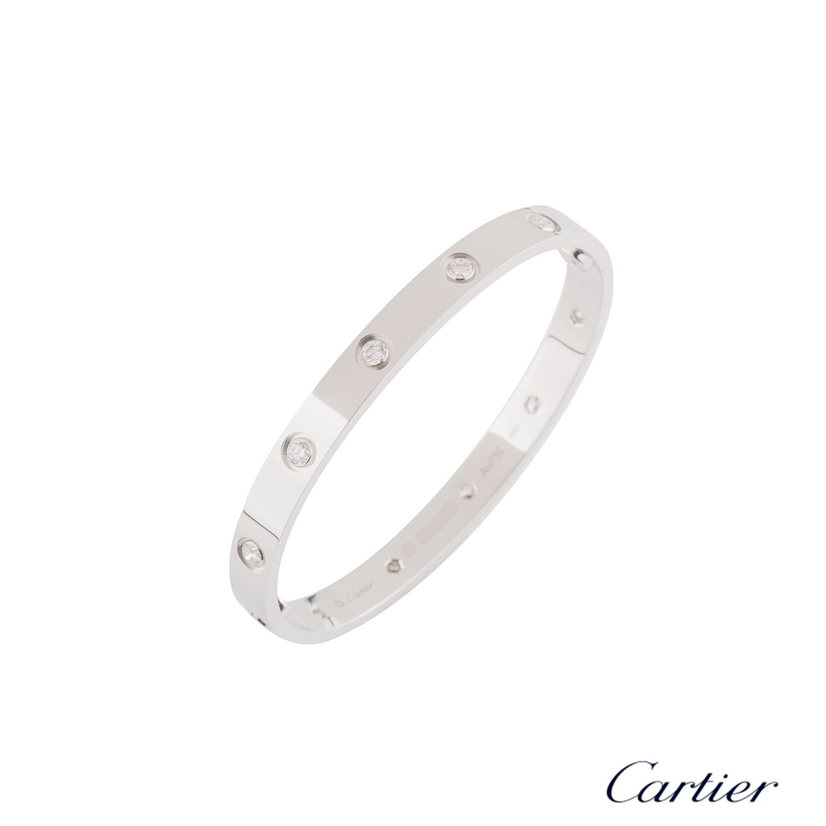 CartierWhite Gold Full Diamond Love Bracelet Size 17B6040717